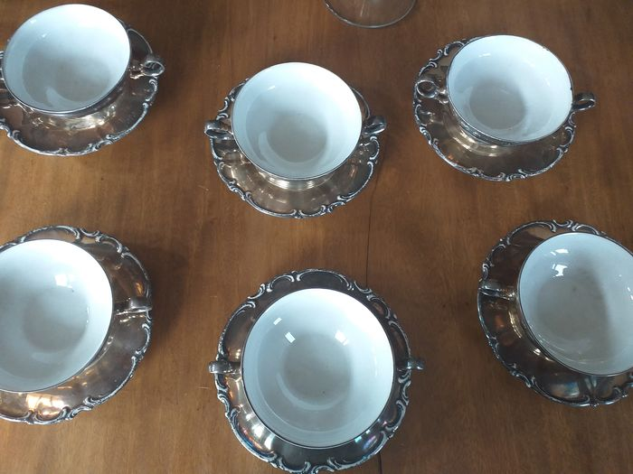 Hutschenreuther - Cups and saucers (12) - .1000 silver, Ceramic