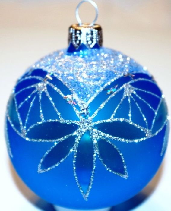 Exclusive blue christmas balls, hand painted (12) - Glass (stained glass)