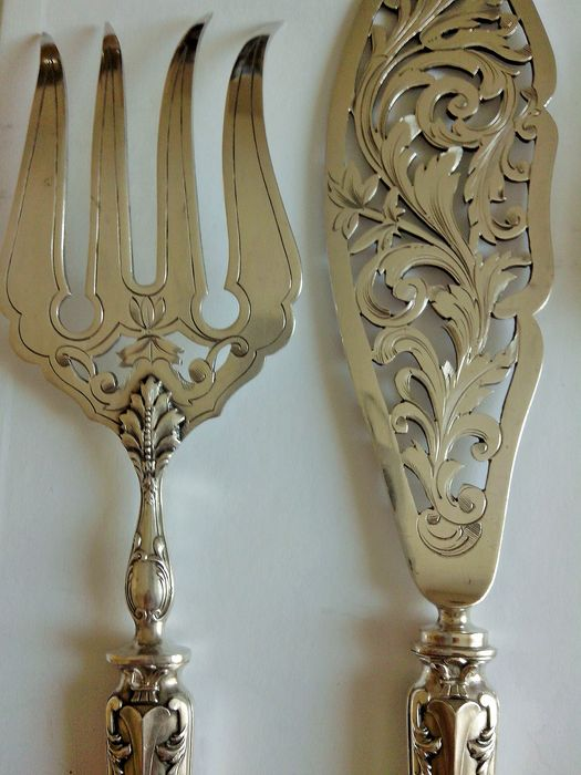 Fish cutting and presentation service (4) - Baroque - .950 silver, Silverplate
