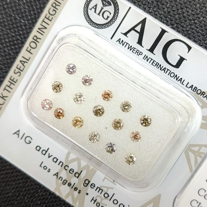 16 pcs Diamants - 0.62 ct - Brillant - Fancy Mix Color - SI1, SI2, VS1, VS2, VVS2, No Reserve Price