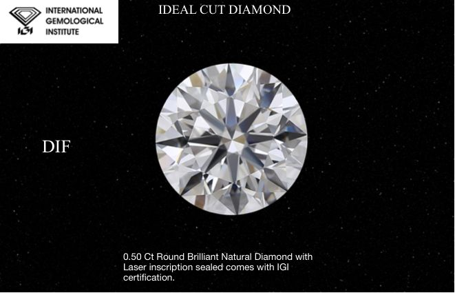 1 pcs Diamond - 0.50 ct - Brilliant, #017 - D (colourless) - IF (flawless)