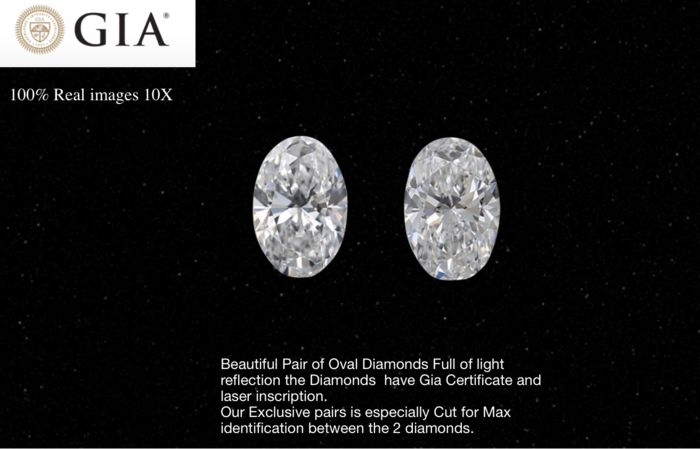 2 pcs Diamants - 0.80 ct - Oval - E, F - VVS1