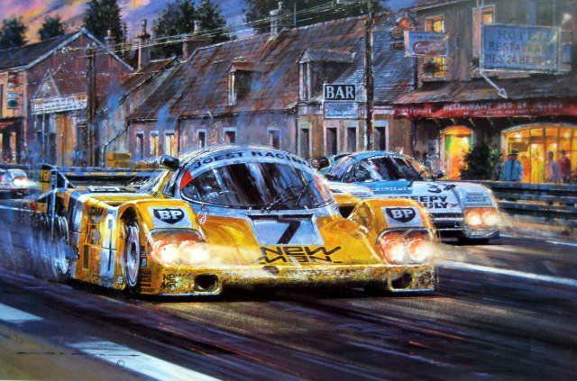 "Fine Art Print - Porsche 956 #7 ""New Man"" Edition Signed by the Winners of Le Mans Ludwig/Barila/Winter - 1985"