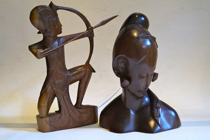 Sculptures (2) - Wood - Buste en boogschutter - Bali, Indonesia