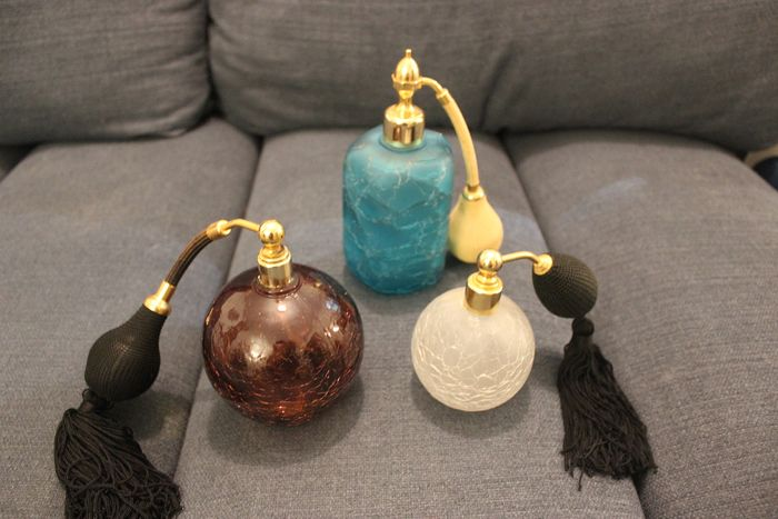 3 perfume spray bottles made of glass paste (including a Marcel Franck) - molten glass