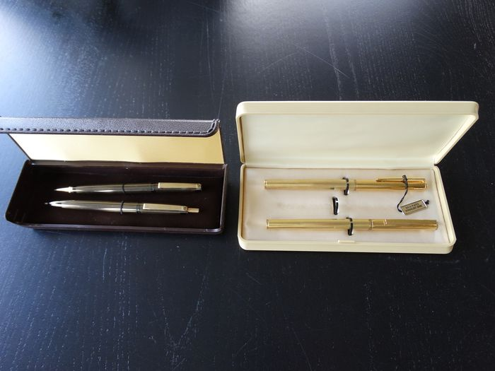 Onbekend - Leather box with 3 gold plated pen and 1 pencil from the 1960s - Complete collection of 6