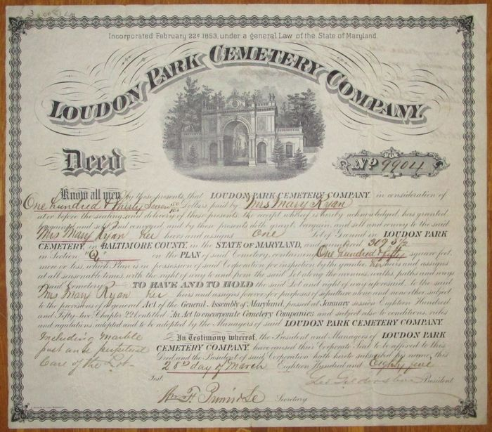 USA - Loudon Park Cemetery Company - Deed for US-$ 137.50 for one Lot of Ground - issued 1885 - with DECO vignette