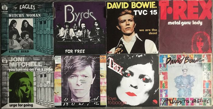 David Bowie, Eagles - The Byrds - Joni Mitchell - Multiple artists - Ashes To Ashes - Multiple titles - 45 rpm Single - 1972/1980