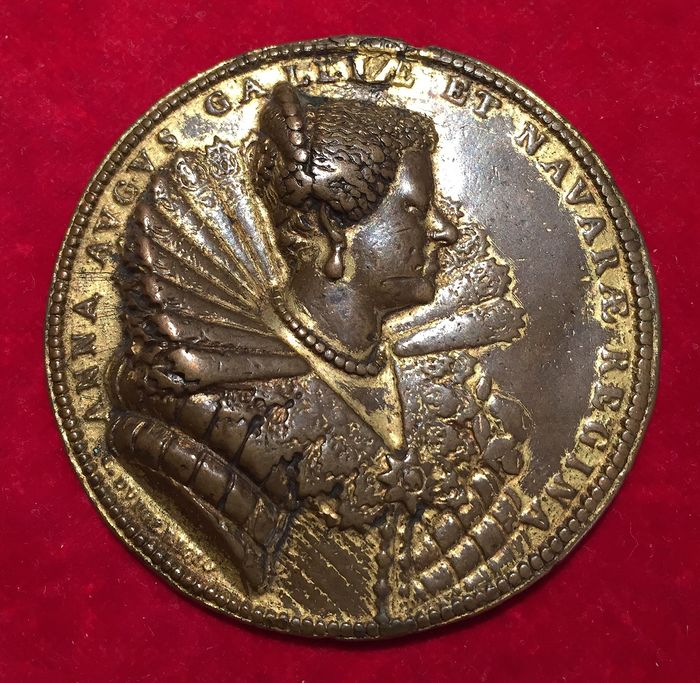 """France - Medal """"Louis XIII and Anne of Austria"""" 1620 by G. Dupré - Bronze"""
