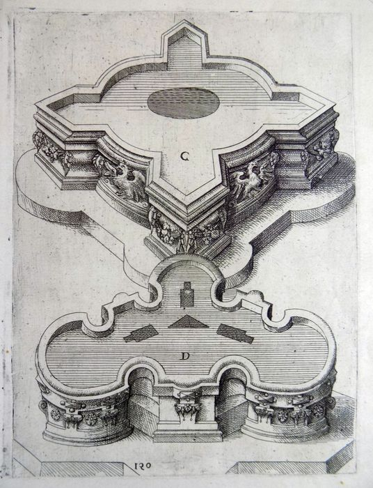 Wendel Dietterlin (1550-1599); Large Folio from famed 'Architectura'  - Designs for Fountains - 1598