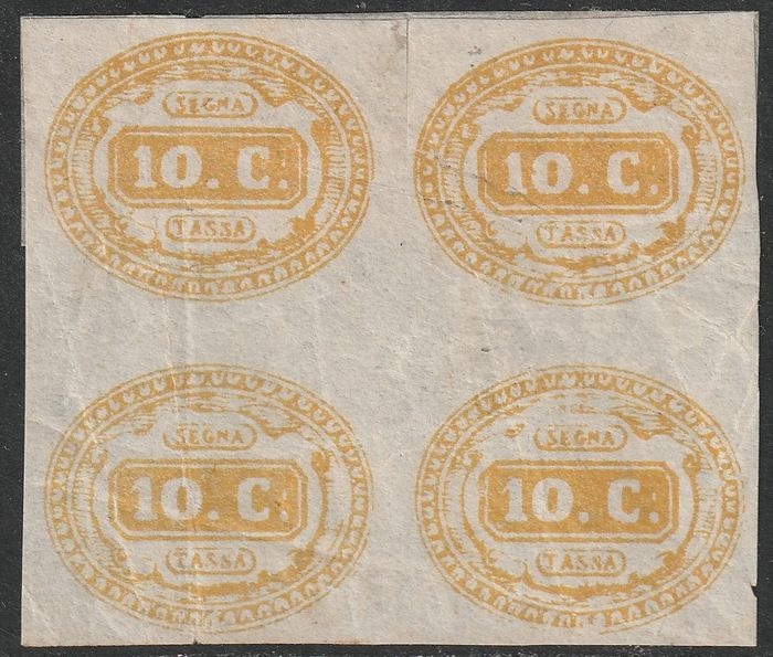 Italy Kingdom 1863 - Postage due, 10 cents ochre block of four, new with gum - Sassone N. 1a