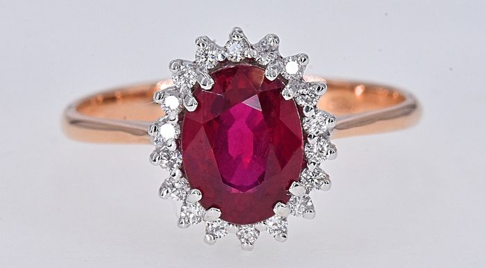 18 kt. Pink gold, White gold - Ring - 1.40 ct Ruby - Diamonds