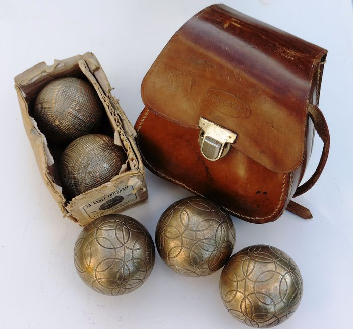 Integrale - Integrale - leather bag and box with boules (7) - Bronze copper and leather