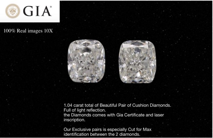 2 pcs Diamanten - 1.02 ct - Cushion - H I - VVS1