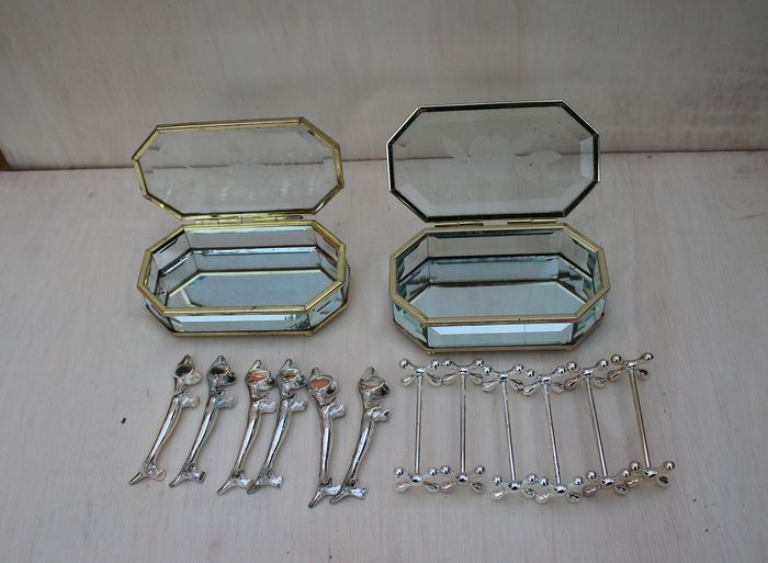 12 silver-plated knife holder in crystal box - Glass, Silverplate