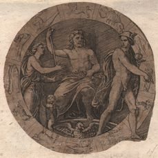 Marcantonio Raimondi (1475-1534) - Zeus and Mercurius in zodiac circle