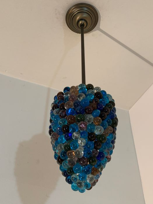 Chic super Italian Large multicolored shades of blue grape bunch bar lamp with mouth-blown glass (1) - glass, copper