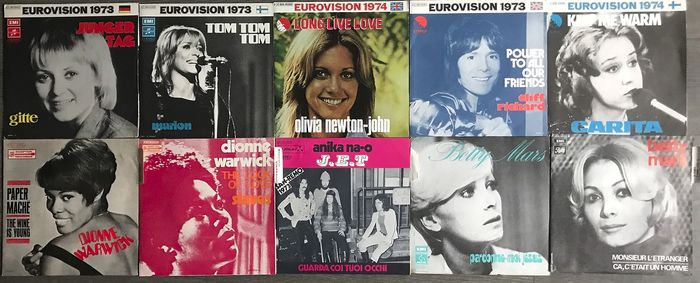 Cliff Richard -  Olivia Newton-John - Dionne Warwick - Eurovision - Multiple artists - ‎Long Live Love - The Look Of Love  - Multiple titles - 45 rpm Single - 1969/1974