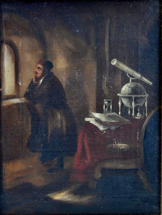 Continental school. (19th century) - An astrologer with telescope and globe