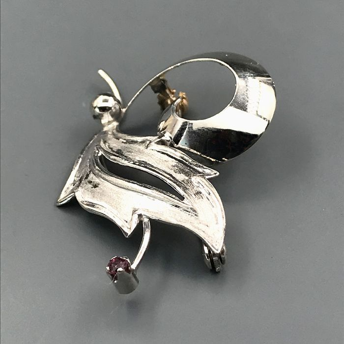 18 kt. White gold - Brooch - 0.03 ct Ruby