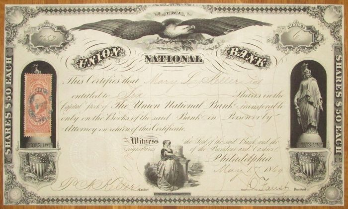 USA - Union National Bank - DECO Share Certificate 1869 - with red revenue stamp