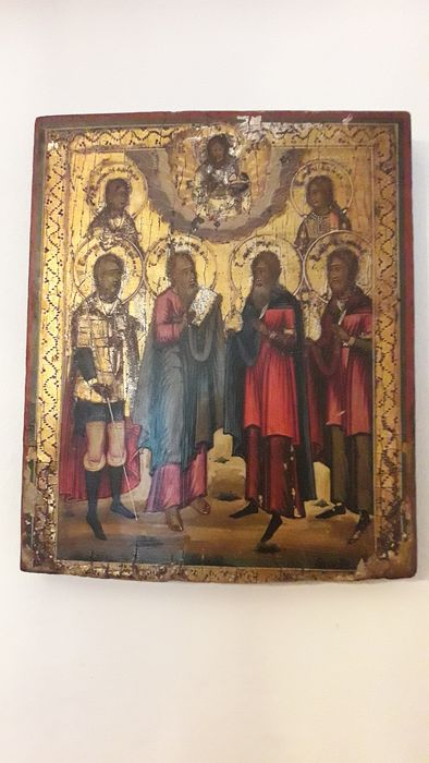 Icon (1) - Wood, Oil painting on a gold background. Russian icon with Saints - 19th century
