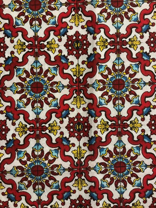"2.80 meters x 2.60 meters fabric model ""Capri"" with hand-painted ceramic tile design - Cotton - unknown"