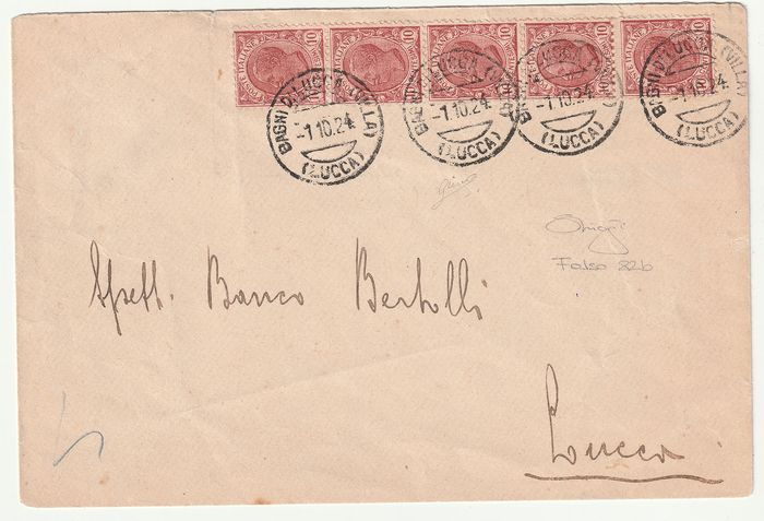 Italy Kingdom 1906 - Leoni 10 cents Milan fake, strip of 5 on letter from Bagni di Lucca to Lucca - Sassone N. F82b