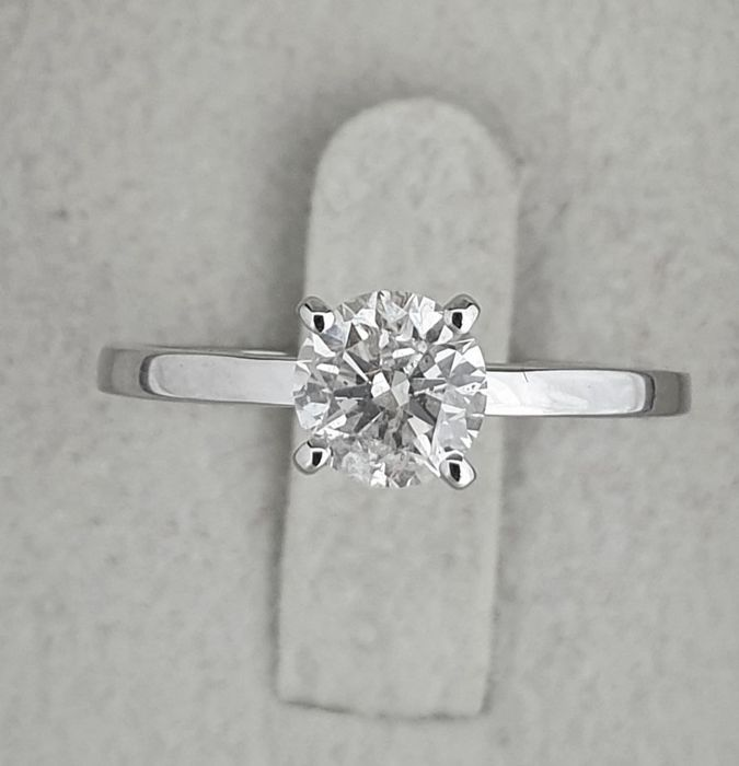 14 kt. White gold - Ring - Clarity enhanced 0.86 ct Diamond - D/SI1