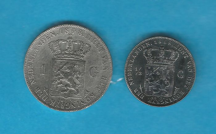 The Netherlands -  1  Gulden + ½ Gulden 1848 + 1858 Willem II & Willem III - Silver