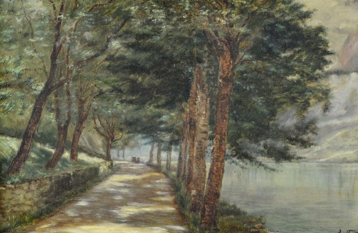 Jean Galland. (1880-) - A lakeside path through the trees by a lake