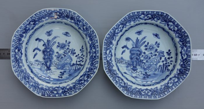 Dish, Plates (2) - Floral - Porcelain - Altar Offering Set - Pair Chinese Blue & White Porcelain Plates - China - 18th century