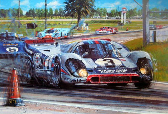 Impression d'Art - Porsche 917 #3 Martini & Rossi 12 Hours of Sebring Signed by the winners Elford/Larousse - 1971