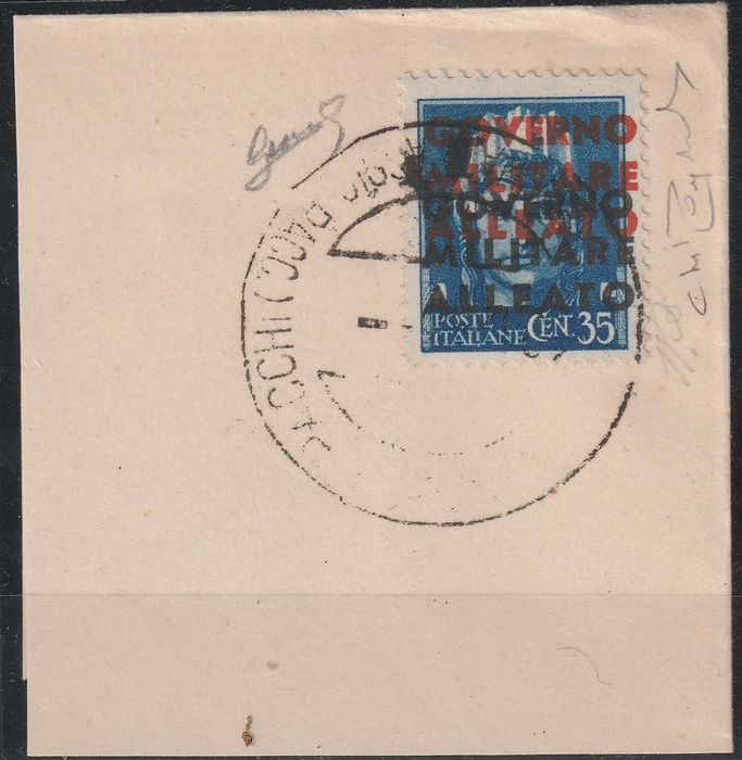 Allied Occupation - Italy 1943 - Naples - 35 cents light blue double overprint, 1 in black in proof - Sassone N. P11