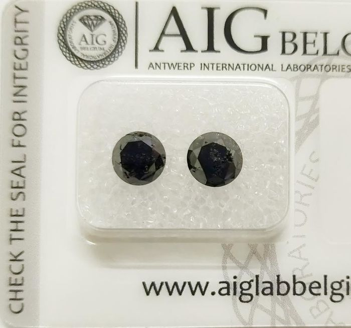 2 pcs Diamonds - 2.36 ct - Round - fancy black - N/A