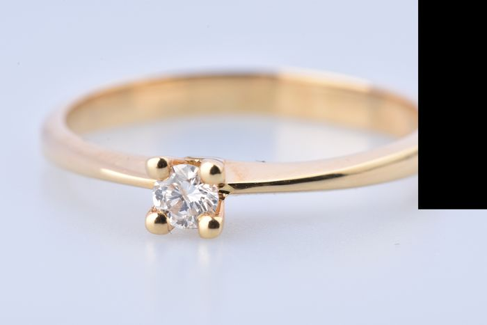 18 kt. Yellow gold - Ring - 0.12 ct Diamond
