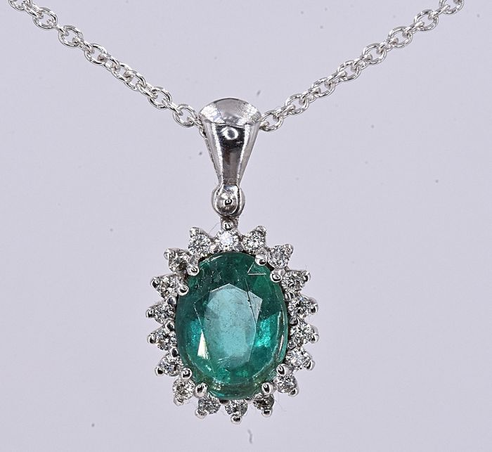 18 kt. White gold - Necklace - 1.40 ct Emerald - Diamond
