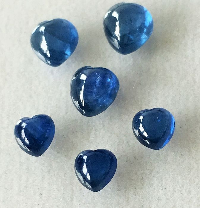 6 pcs Bleu Saphir - 3.75 ct