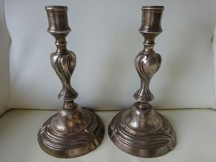 Pair of table candlesticks - Louis XV Style - Bronze, Silver plated