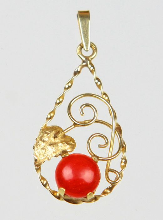 15 carats Or - Pendentif Corail