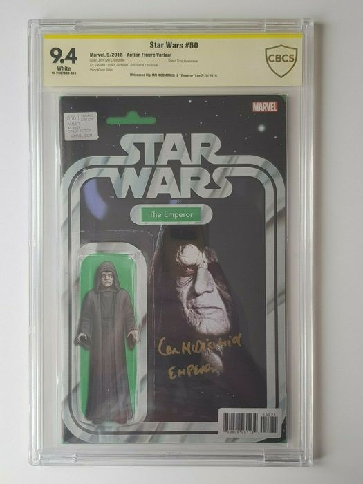 Star Wars #50 - Action Figure Variant - CBCS 9.4 - Signed by Ian McDiarmid (Emperor)