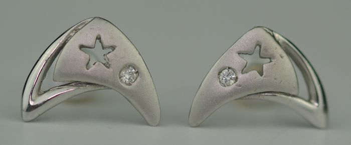 Crescent Moon Diamond - 18 carats Or blanc - Boucles d'oreilles