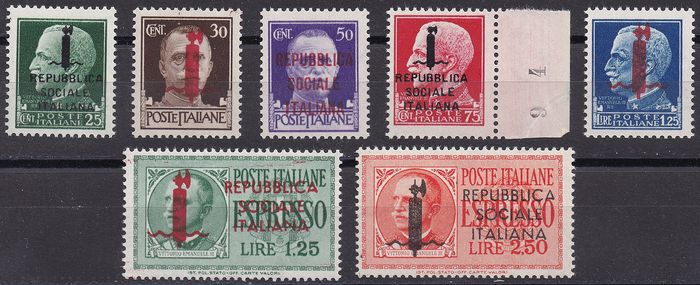 Italy 1944 - RSI - Imperial set with overprint, Genoa issue and express stamps - Sassone NN. 491/495 (GE), EXpr N. 21/22