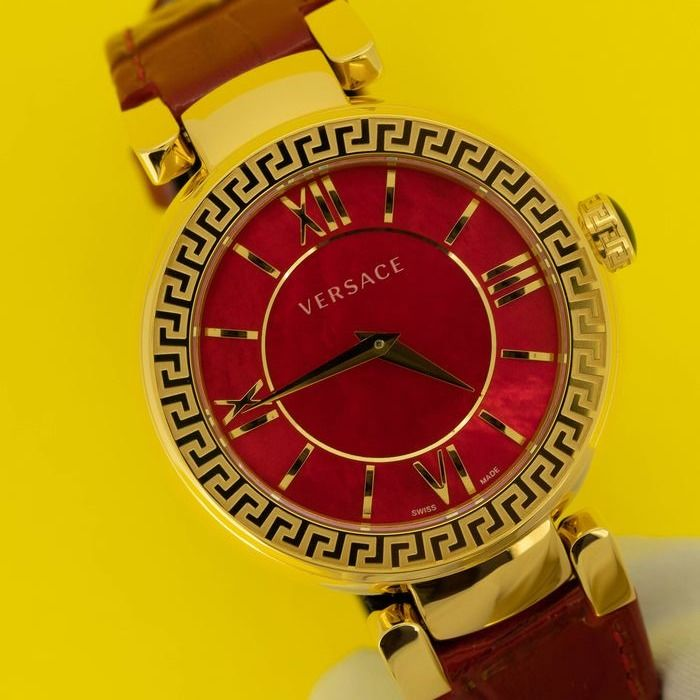 Versace - Leda Red mother of pearl IP Yellow Gold Leather  Swiss Made  - VNC190017 - Damen - NEW