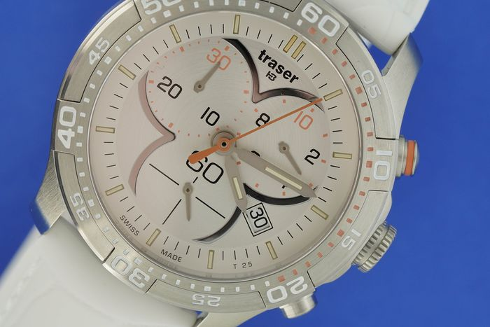 "Traser - T73 Lady Time Chronograph White with Silicone Strap - 100353 ""NO RESERVE PRICE"" - Women - BRAND NEW"