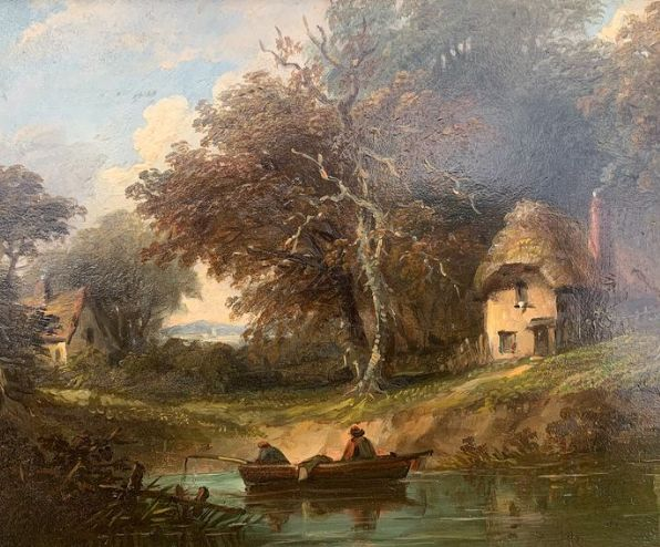 Unknown - Continental landscape with boat