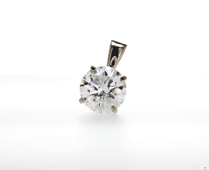 14 kt. Yellow gold - Pendant - Clarity enhanced Diamond