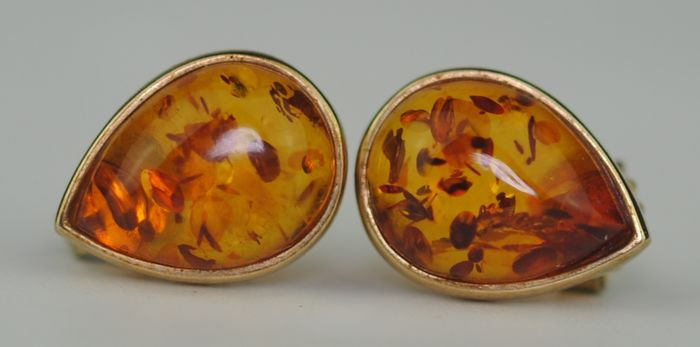 Amber - 9K Yellow gold - Earrings