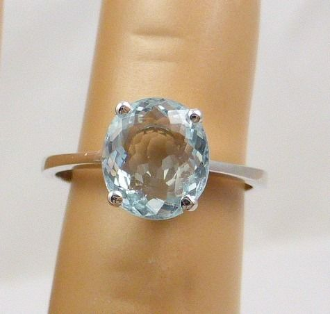 18 quilates Oro blanco - Anillo - 1.80 ct Aguamarina