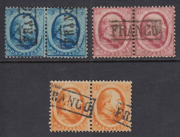 Pays-Bas 1864 - King Willem III in pairs - NVPH 4/6